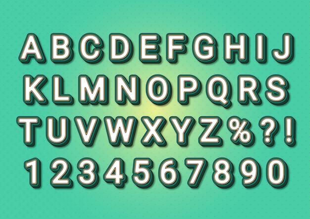 Conjunto de números de alfabetos em relevo realistas 3d