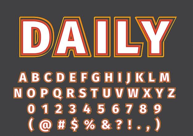 Conjunto de números de alfabetos modernos da moda em 3d
