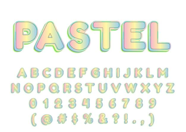 Conjunto de números de alfabetos pastéis modernos