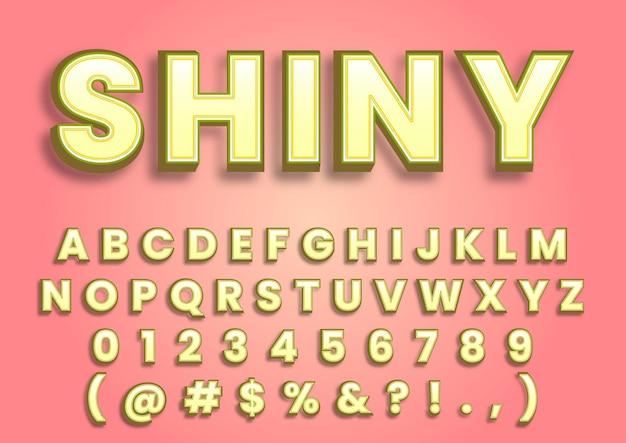 Conjunto de números de alfabetos pastel em creme 3d