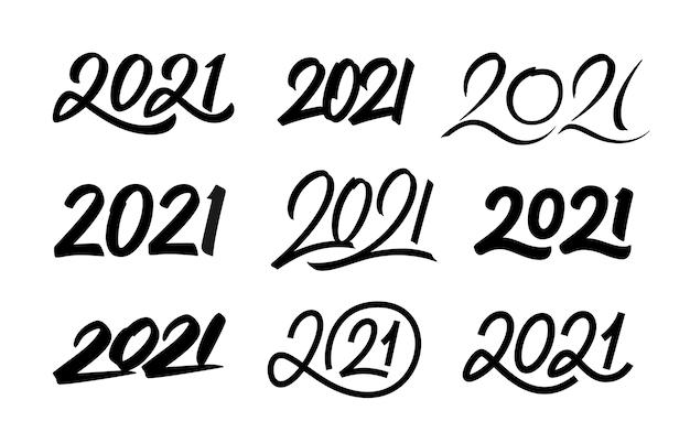 Conjunto de números de caligrafia desenhados à mão