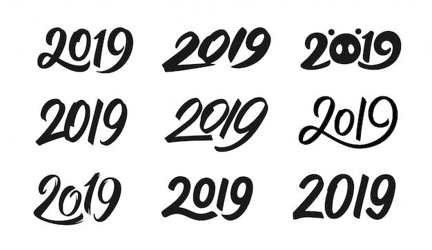 Conjunto de números de caligrafia do ano novo 2019
