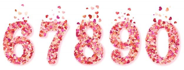 Conjunto de números de confetes corações decorativos. isolado no fundo branco