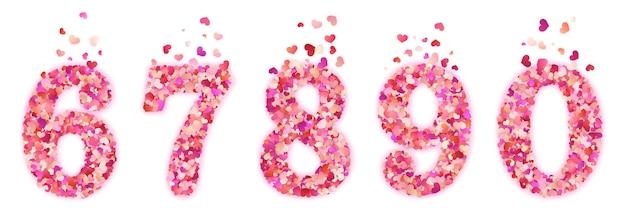Conjunto de números de confetes de corações decorativos coloridos de dia dos namorados. isolado
