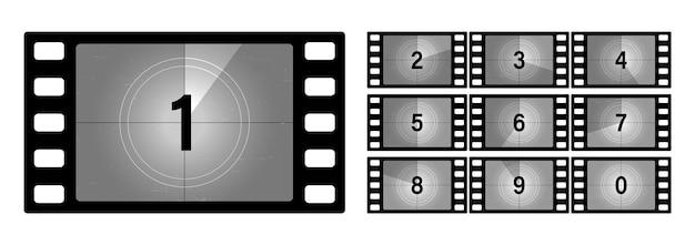 Conjunto de números de contagem regressiva do filme. o início do filme antigo. contagem de cronômetro de filme de cinema retro. filme antigo de quadro de contagem regressiva. tela de filme mudo vintage com temporizador de seções de círculo em fundo de filme grunge