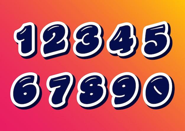 Conjunto de números de crianças felizes de balão