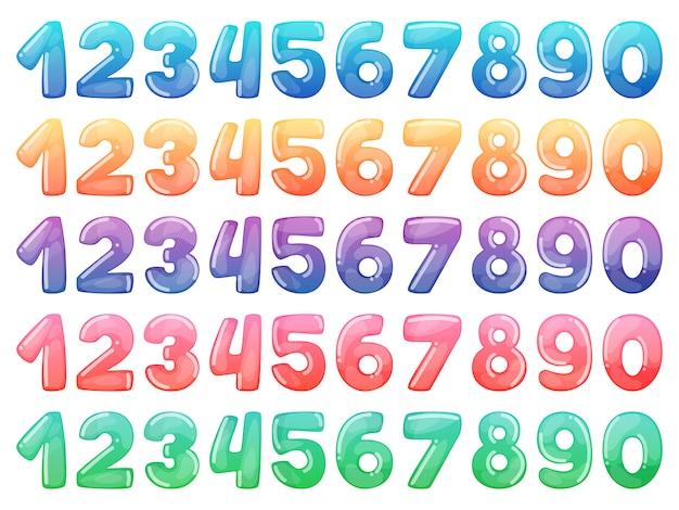 Conjunto de números de desenhos animados de cor. doces do arco-íris e símbolos engraçados lustrosos dos desenhos animados.