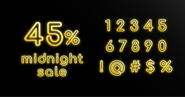 Conjunto de números de efeitos de texto de néon amarelo