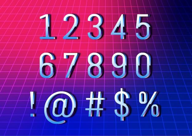 Conjunto de números de fonte retrô tecnologia cibernética