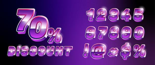 Conjunto de números de fonte retrô tecnologia cyber