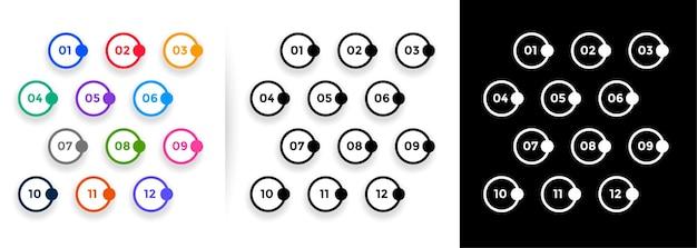 Conjunto de números de forma de círculos com marcadores