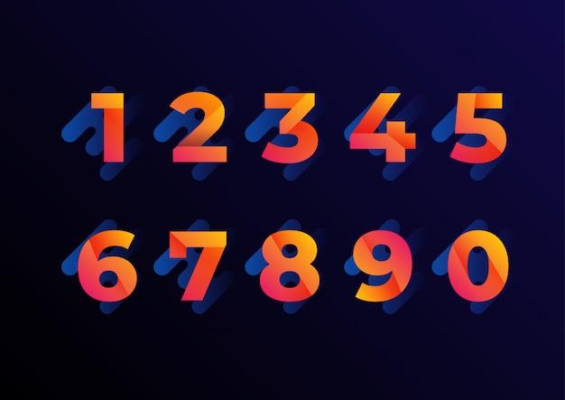 Conjunto de números de gradiente laranja rosa dobrado 3d