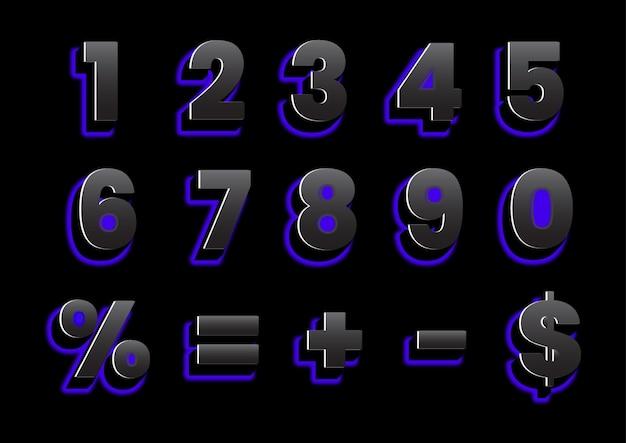 Conjunto de números de luz traseira 3d Vetor Premium