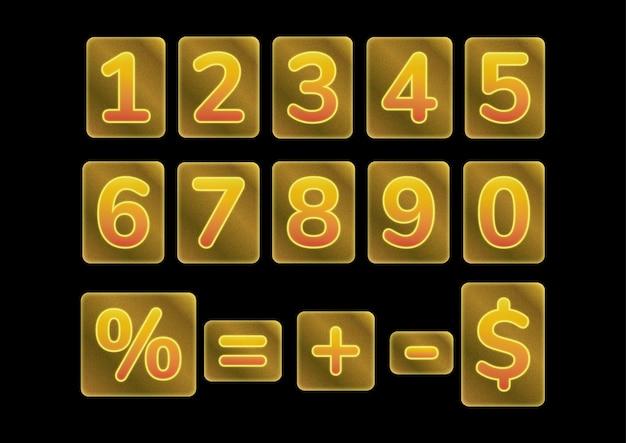 Conjunto de números de moldura de barra de ouro