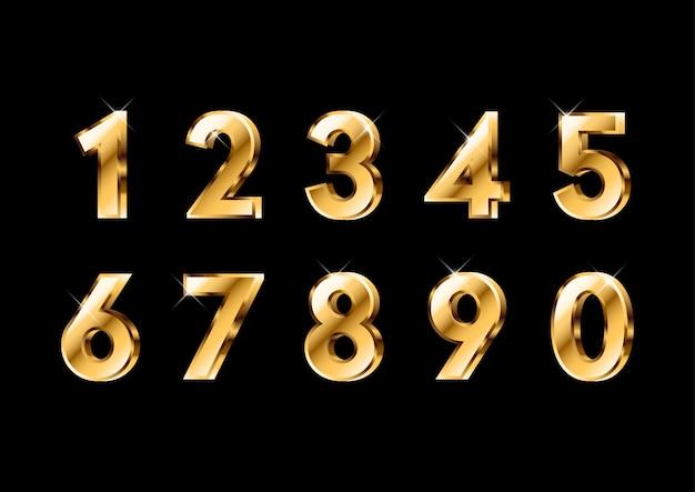 Conjunto de números de ouro brilhante 3d