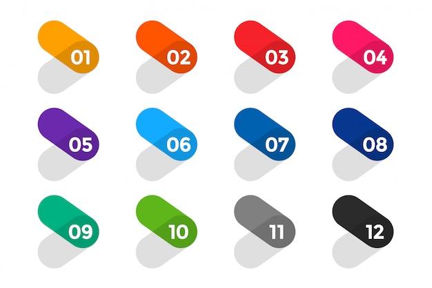 Conjunto de números de pontos de bala estilo seta plana