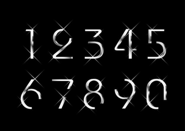 Conjunto de números de prata moda elegante luxuoso