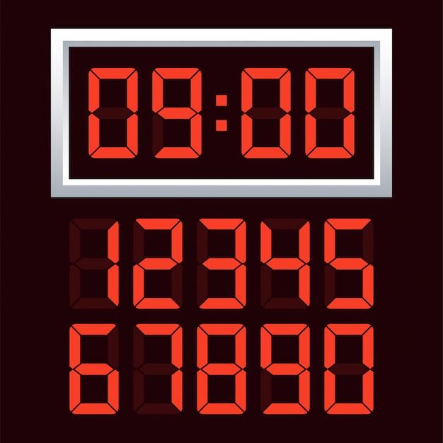 Conjunto de números de relógio digital.