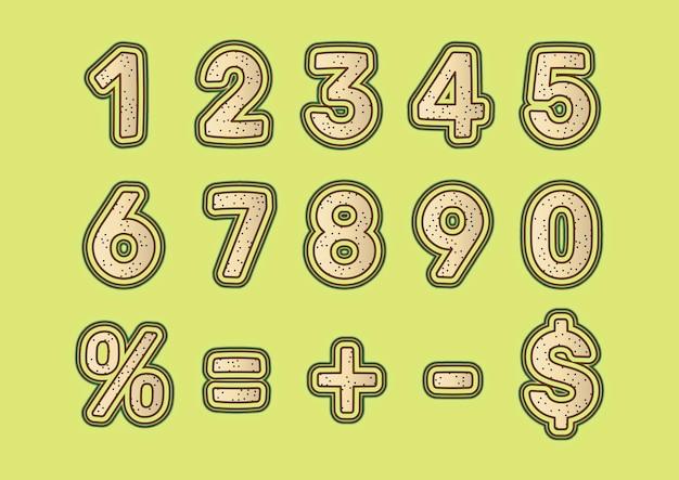 Conjunto de números de textura de areia decorativa