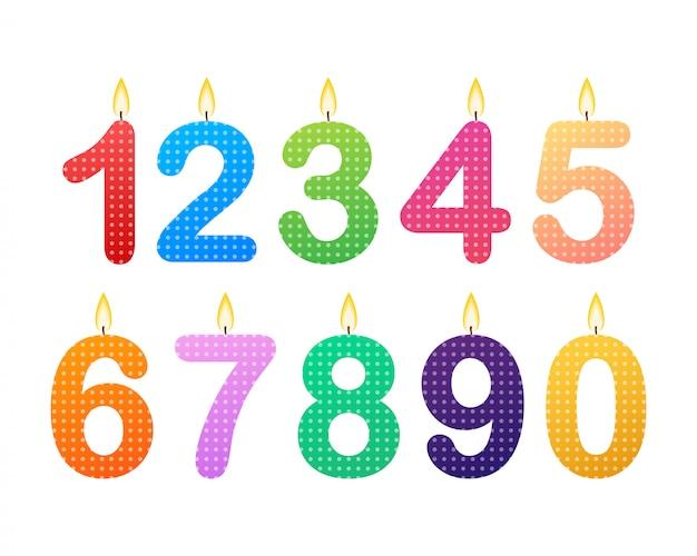 Conjunto de números de vela feliz aniversário.