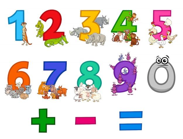 Conjunto de números de zero a nove com animais