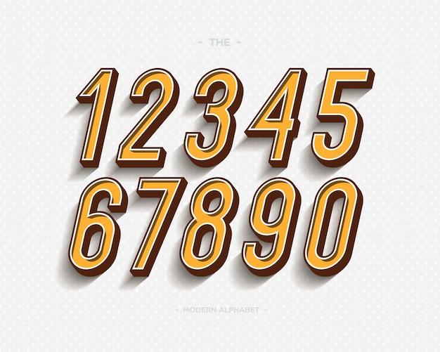 Conjunto de números definido tipografia moderna