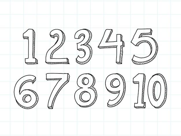 Conjunto de números desenhados à mão, isolado no fundo branco Vetor grátis