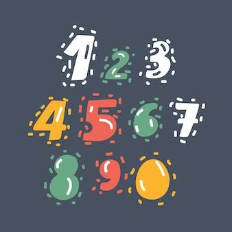 Conjunto de números desenhados à mão