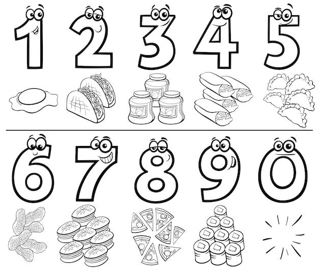 Conjunto de números dos desenhos animados com livro de cores de objetos de comida