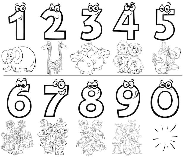 Conjunto de números dos desenhos animados para colorir livro com animais