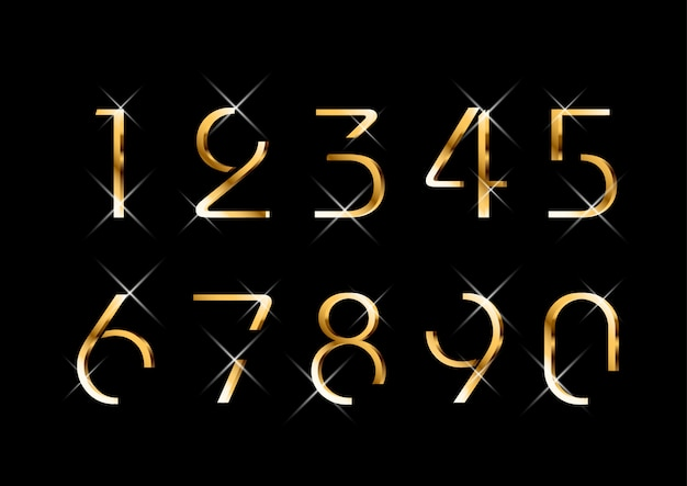 Conjunto de números dourados de moda elegante luxuoso