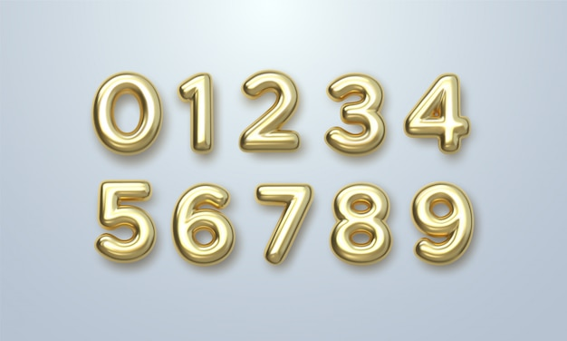 Conjunto de números dourados. ilustração em vetor 3d. personagens brilhantes realistas. dígitos isolados.
