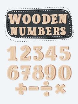 Conjunto de números e pontos turísticos de madeira
