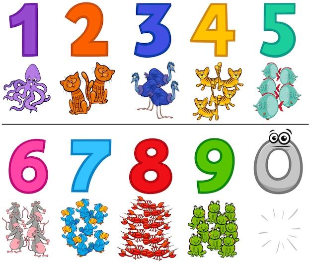Conjunto de números educacionais de um a nove com animais