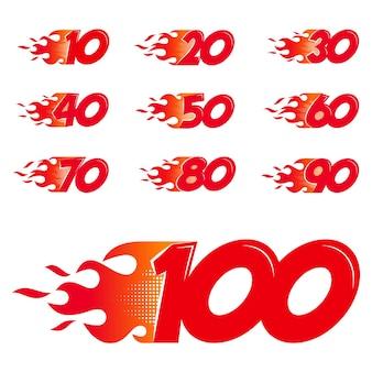 Conjunto de números em chamas. números de estilo simples de chamas isolados no fundo branco. ilustração vetorial.