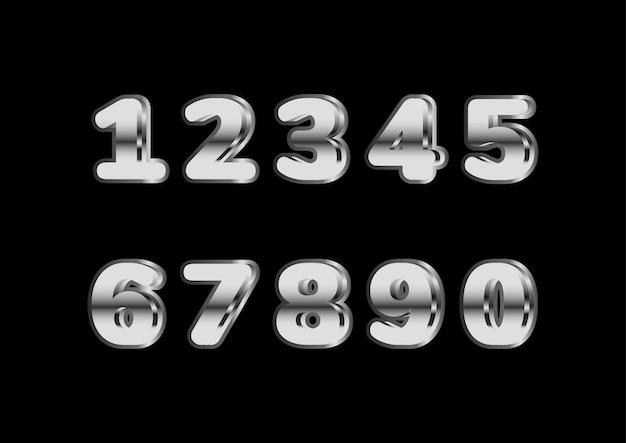 Conjunto de números em negrito arredondado prateado brilhante