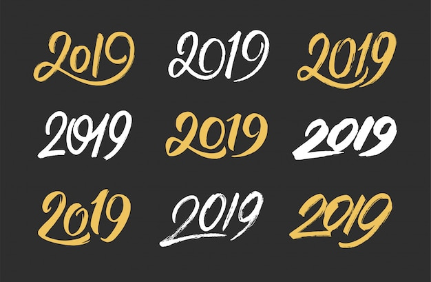 Conjunto de números manuscritos de 2019 para o ano novo