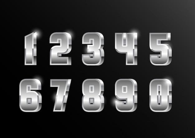 Conjunto de números metálicos prata 3d