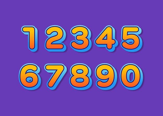 Conjunto de números modernos com gradiente arredondado colorido