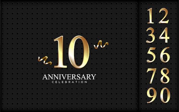 Conjunto de números para celebração em fundo preto