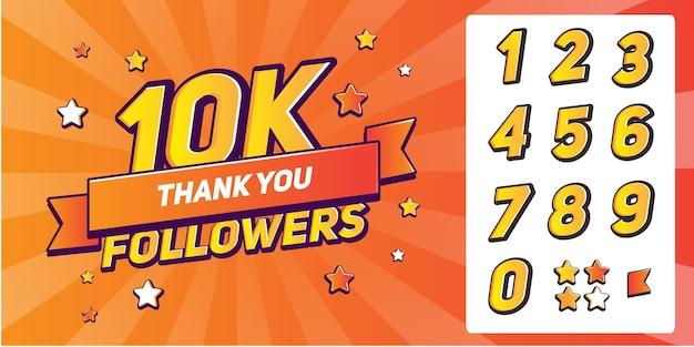 Conjunto de números para seguidores de agradecimento. obrigado, seguidores, parabéns