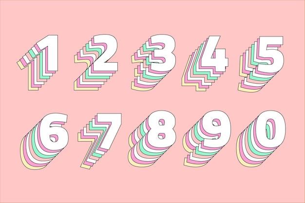 Conjunto de números pastel em camadas