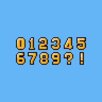 Conjunto de números pixel arte dos desenhos animados de ouro.