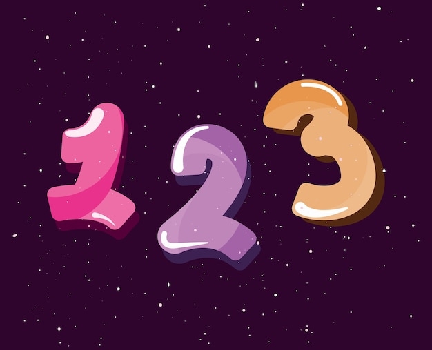Conjunto de números quadrinhos estilo vector illustration design