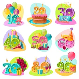 Conjunto de números retrô de vela de aniversário