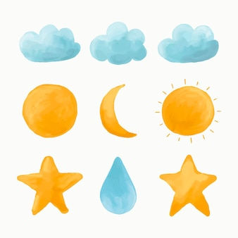 Conjunto de nuvem aquarela, sol, lua, vetor estrela