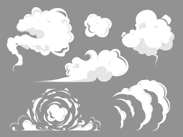 Conjunto de nuvem de fumaça.
