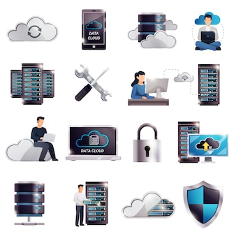 Conjunto de nuvem do servidor de hospedagem de datacenter