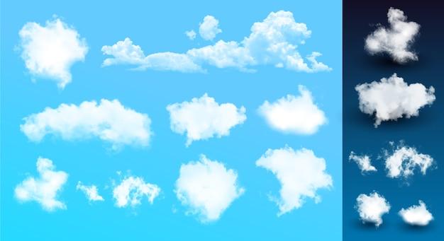 Conjunto de nuvem realista. fundo com nuvens no céu azul claro.