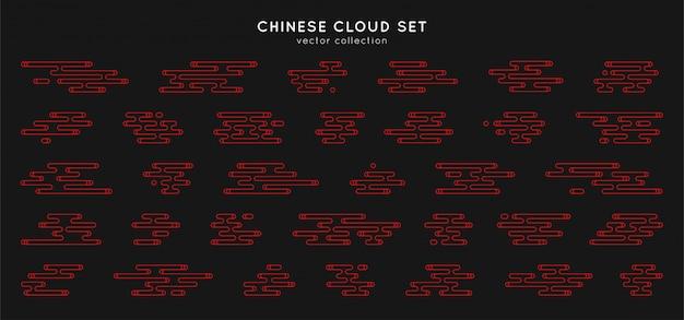 Conjunto de nuvens asiáticas tradicionais